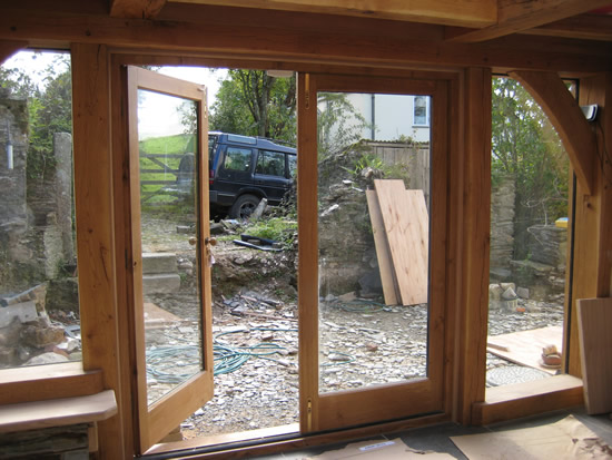 Sesoned oak double french doors high performance double for Oak french doors
